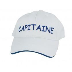 Baseball cap Capitaine, wit, katoen, blauw geborduurd