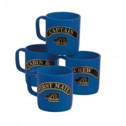 Mok onbreekbaar plastic, captain,first mate,crew,cabin boy blauw set van 4
