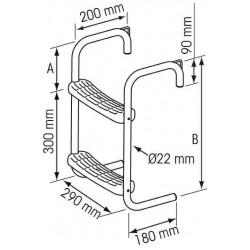 Steigertrap RVS 2 treden 245 mm hoogte