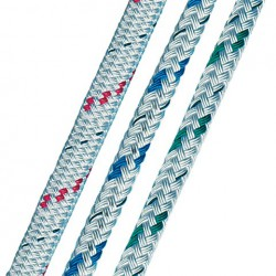 Doublebraid   6mm wit-blauw
